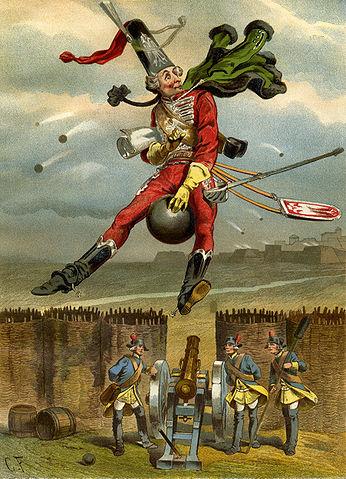Baron Hieronymus von Münchhausen reitet auf einer Kanonenkugel